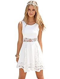 Imixshop Women's Sexy Sleeveless Lace Patchwork Hollow Out Summer Mini Dress
