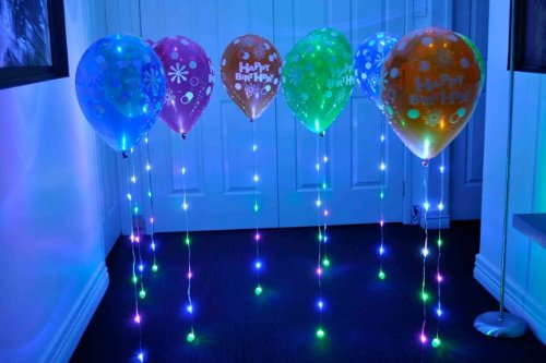 Sparkle ribbon led light up ribbon 5 pack multi color for Balloon string decorations