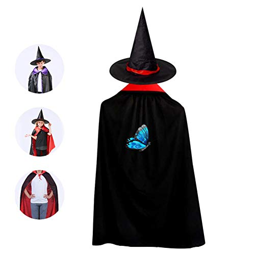 Blue Butterfly Art Cloak Wizard Witch Cape With Hat Cap Reversible Ponchos For Children Halloween Party Cosplay Costume ()