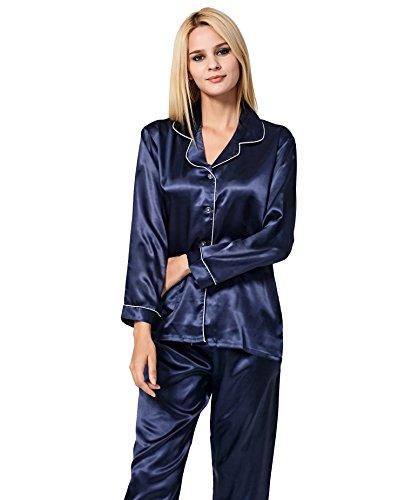 VlSl Womens Silk Satin Pajamas Set Sleepwear Loungewear Two-Piece Long Sleeve Pajama Set (Medium, Navy (Sleepwear Silk Sleep Pant)