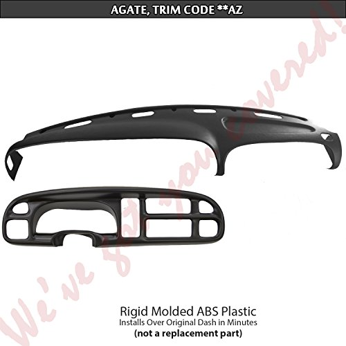 DashSkin Molded Dash & Bezel Cover Kit Compatible with 99-01 Dodge Ram in Agate (Dark Grey) (Speedometer Ram Dodge)