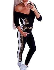 Mxjeeio Chandal Mujer Elegante Otoño Invierno Conjuntos Deportivos Manga Larga V Cuello Sudadera de Traje Casual de Mujer con Estampado de Leopardo de Dos Piezas Moda Slim Fit Conjunto Deportivo