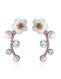 EAR VINES Gold Shell Pearl Flower Ear Vine Wrap Pin Sweep up Ear Cuffs Climber Earrings