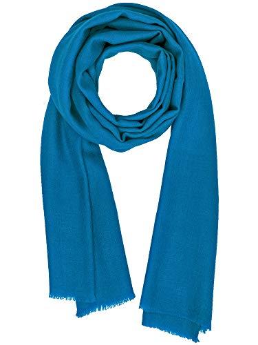 Cashmere Feel Wool Silk Blend Scarf Pashmina Women's Men's Shawl Blue Jewel ()