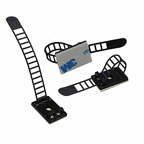 Eiito Wire Clips Cables Clamps (100 Pack) + Nylon Zip Ties (100 Pack) Adjustable 3M Self-Adhesive Cable Multipurpose Cable Clips Tie Mount for wire management by Eiito (Image #1)