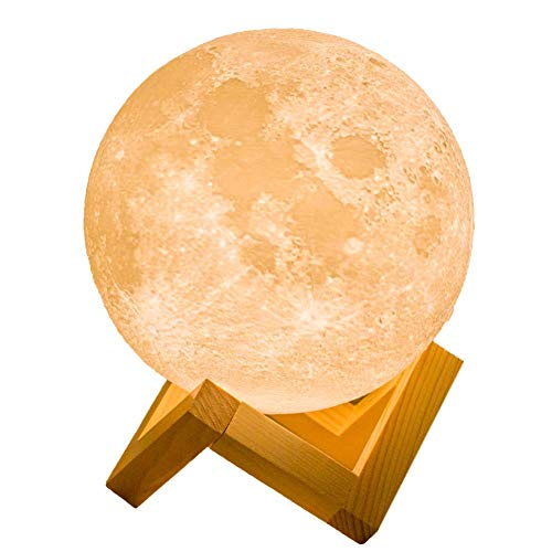 Moon Light, 5.9 Inch 3D Moon Lamp with Wooden Stand Warm and Cool White Moon Night Light Dimmable with Tap Control, Rechargeable Lunar Light Creative Gift for Home, Kids Room, Wall Decorative