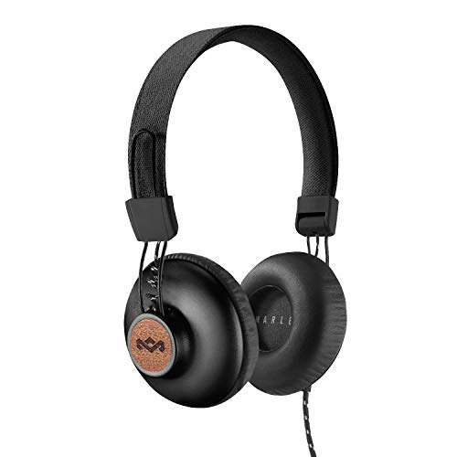 House of Marley, Positive Vibration 2 On-Ear Headphones - Comfortable Fit, Foldable Design, Premium Sound, Single Sided Tangle-free Braided Cable, EM-JH121-SB Signature Black