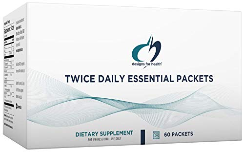 Designs for Health Twice Daily Essential Packets - Daily Multivitamin + Minerals Packs with OmegAvail Fish Oil, Calcium Malate + Magnesium Malate (60 Packets)
