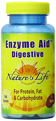 Enzyme 100 Tablets - Nature's Life Enzyme Aid Digestive Tablets, 100 Count