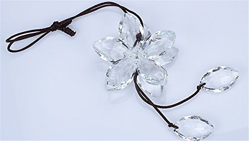 - Fochutech Beautiful Crystal Flower Car Pendant Lucky Hanging Rearview Mirror Ornament Charm Decoration Accessories (Transparent)