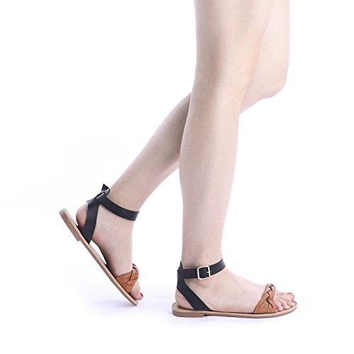DREAM PAIRS Tan Black Summer Sandals for Women Casual Open Toes Ankle Straps Buckle Fashion Flat Sandals, Soft Faux Leather Braided One Band Comfortable Slingback Dress Cute Flat Shoes Size 5 M US