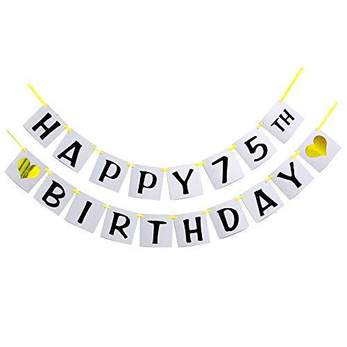 Happy 75TH Birthday Banner - Gold Glitter Heart for 75 Years Birthday Party Decoration Bunting (White) -