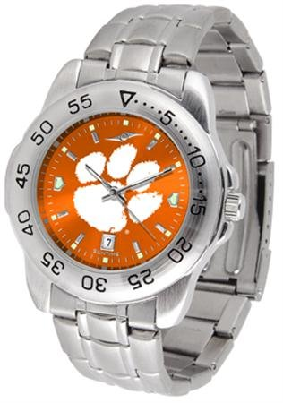 (SunTime Clemson Tigers Sport Steel Band Ano-Chrome Men's Watch)