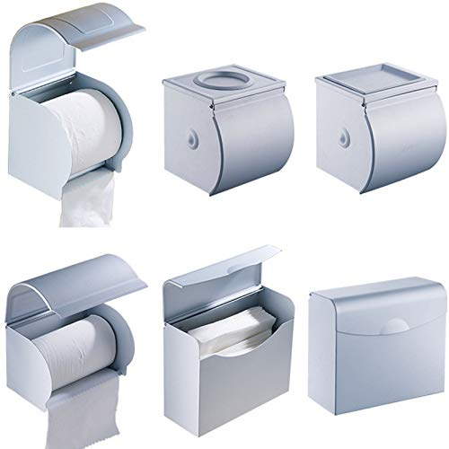 Tuersuer Easy to Assemble Aluminum Postbox Type Toilet Paper Roll Shelf Holder Case with Cover Roll Tissue Box,2#