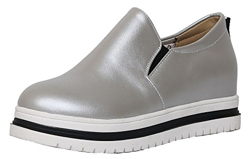 Amoonyfashion Mujeres Pu Solid Pull-on Round-toe Kitten-heels Pumps-Zapatos Plata