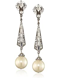 Swarovski Crystal and Glass Pearl Drop Earrings