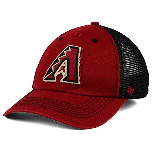 '47 Arizona Diamondbacks Taylor Closer Mesh Slouch Stretch Flex Fit Dad Cap Hat (Sedona Red-Black, Small-Medium)