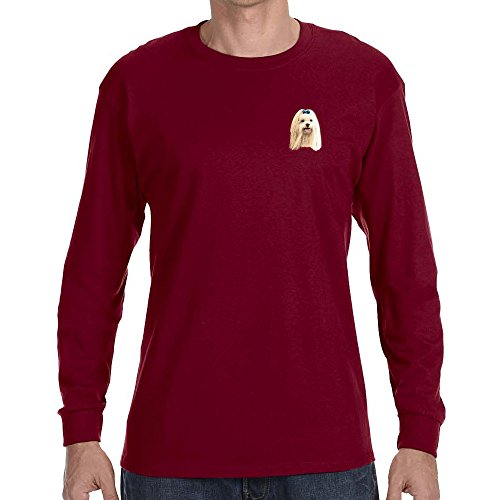 Cherrybrook Dog Breed Embroidered Long Sleeve Mens T-Shirts - Small - Garnet - Maltese