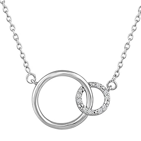 Diamond Accent Sterling Silver Double Circle Necklace, 16