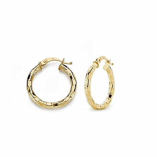 Boucled'oreille 20mm 18k anneaux d'or. tables sculptées creuses [AA1640]
