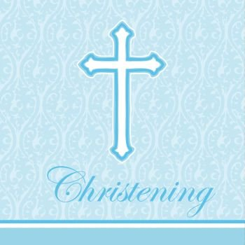 Christening Lunch Napkins - Faith Blue Christening Lunch Napkins 18 Per Pack