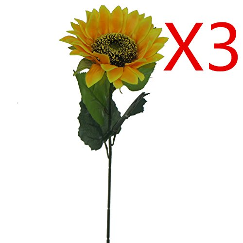 "Lily Garden 24"" Silk Sunflowers Artificial Flowers Decor (3)"