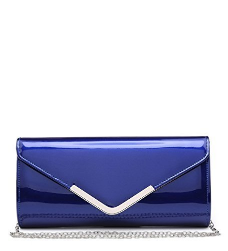 Blue Party Prom Clutch Evening Bags Patent Leather Faux Ladies Occasion P54 Dressy Womens Hand TFqXOO