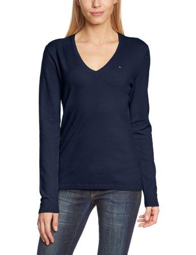 Tommy Hilfiger New Ivy V-Nk Swtr - Jersey con cuello de pico de manga larga para mujer, color azul (core navy 475), talla 44 (Talla fabricante: XXL)