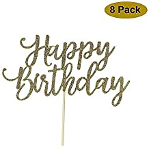 8 Pack Happy Birthday Cake Topper, 1st First Happy Birthday Cupcake Topper, Glitter Gold Decoration