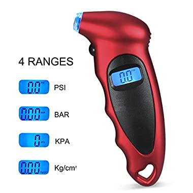 Voroly Digital Tyre Pressure Gauge 150 PSI 4 Settings for Car Truck Bicycle with Backlit LCD and Non-Slip Grip, Red 8