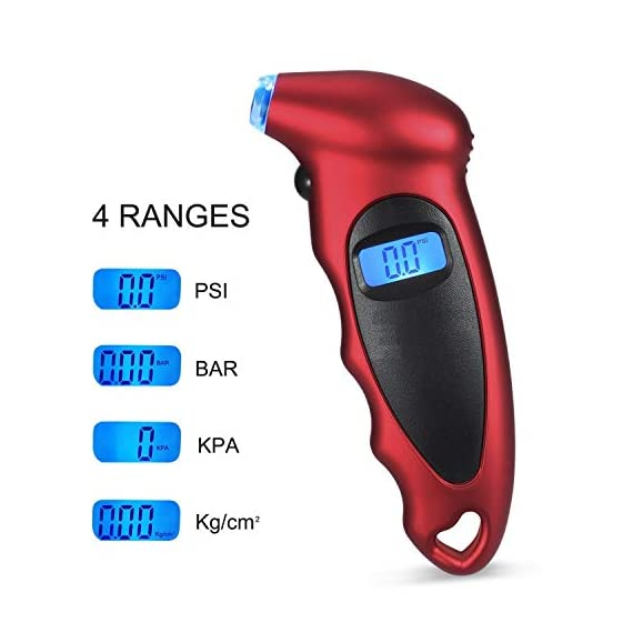 Voroly Digital Tyre Pressure Gauge 150 PSI 4 Settings for Car Truck Bicycle with Backlit LCD and Non-Slip Grip, Red 2