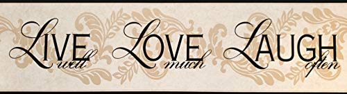 (Live Love Laugh Wallpaper Border Beige Black Classic Retro Design BH10-089 York Wallcovering 15' x 6.75