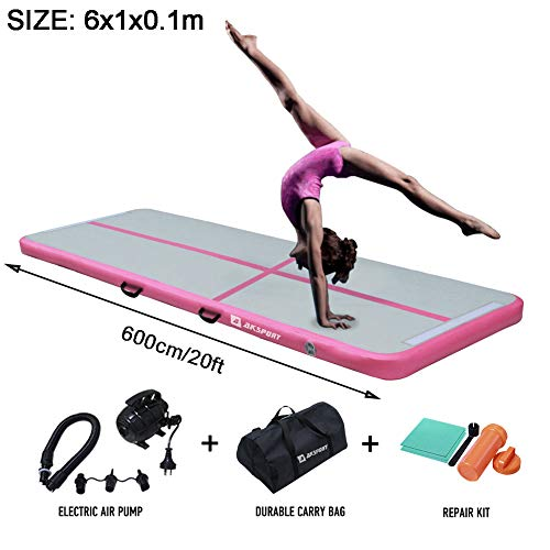 Air Track Gymnastics Tumbling Mat Inflatable Floor Mats with Electric Air Pump for Home Use/Tumble/Gym/Training/Cheerleading/Parkour/Beach/Park/Water 3.3/10/13.12/16.4/20/23-39ft (Pink, 20)