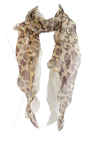 Double Layer Silk scarf, Floral Ruffle Silk Scarf, leopard print, Summer scarf (Brown)