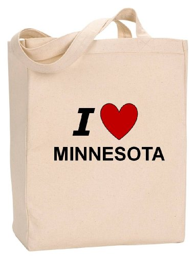 I LOVE MINNESOTA - State Series - Natural Canvas Tote Bag with - Mall Duluth Shopping