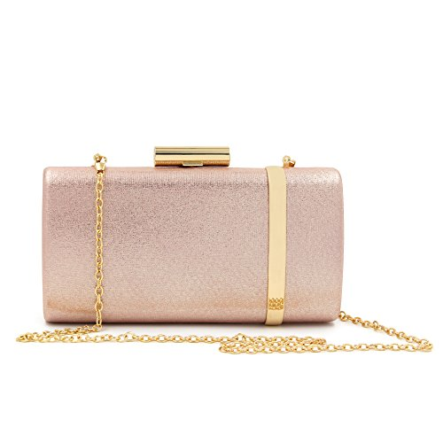 Freie Liebe Women Evening Bridal Prom Handbag shoulder bag Metallic Clutch Purses (Champagne)