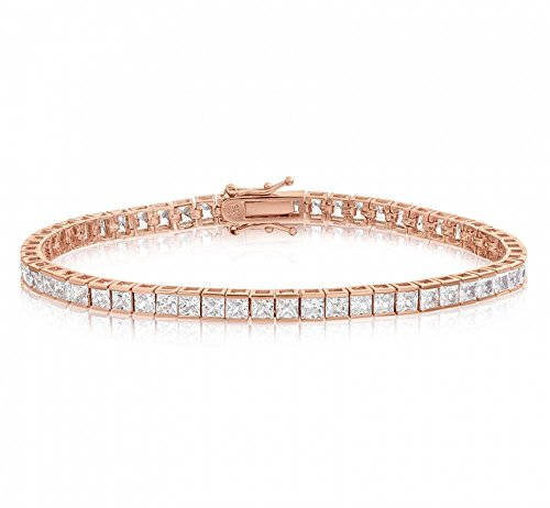 Venetia Realistic 18K Rose Gold Plated 6 carats 3mm princess cut simulated diamond tennis bracelet 7 Inches cz cubic zirconia bra3msqrose7