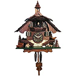Engstler 444QM Battery-Operated Cuckoo Clock-Full Size-10.5 H x 9 W x 6.5 D, Brown