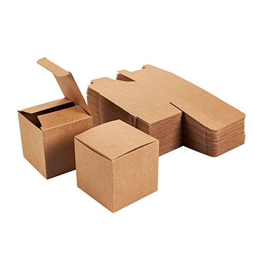Kraft Gift Boxes - 50-Pack Gift Wrapping Brown Paper Boxes with Lids, Kraft Boxes for Party Supplies, Cupcake Containers, Wedding Favors, Small, 3 x 3 x 3 Inches