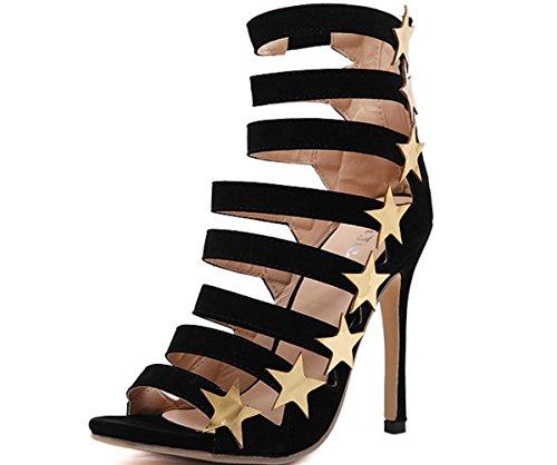Sandali donna YCMDM alta di scarpe tacco 2017 Europa e negli Stati Uniti Popolare Hollow tacco alto scarpe casual bella scarpe singolo , black , 38