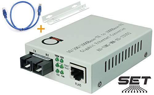 Multimode Gigabit Fiber Media Converter - Built-In Fiber Module 2 km (1.24 miles) SC - to UTP Cat5e Cat6 10/100/1000 RJ-45 - Auto Sensing Gigabit or Fast Ethernet Speed - Jumbo Frame - LLF Support