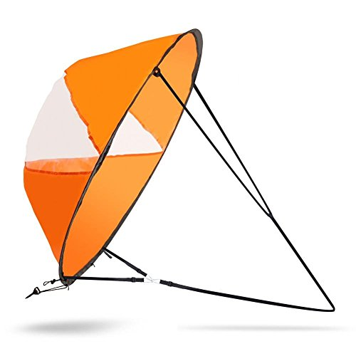 (Kayak Wind Sail, 42inch Portable Folding Downwind Wind Sail Kit with a Storage Bag for Sailboat)