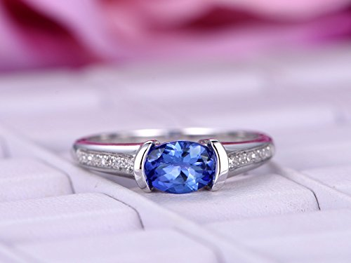 Oval Tanzanite Engagement Ring Pave Diamond Wedding 14K White Gold 6x8mm