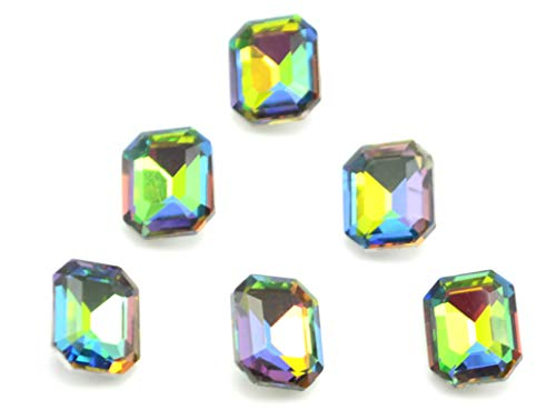 Catotrem Glass Diamante Faceted Octagon Rectangle Rhinestone Pointback Stone for Arts Crafts 8X10mm 60Pcs(Vitrail Medi)