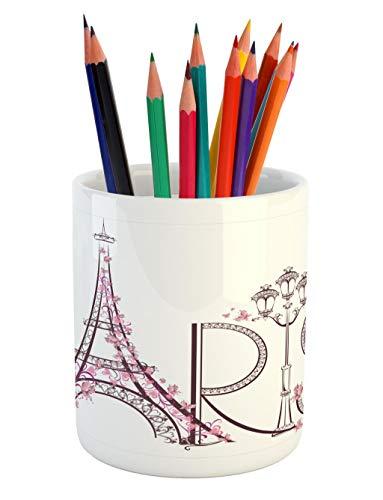 (Lunarable Paris Pencil Pen Holder, Tower Eiffel with Paris Lettering Couple Trip Flowers Floral Artful Design Print, Printed Ceramic Pencil Pen Holder for Desk Office Accessory, Plum Pale Pink)