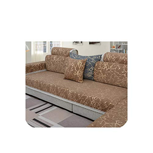 (European Style Sky Stripe Jacquard Chenille Sofa Cover Cama Slipcovers for Living Room Furniture Sectional Couch Covers,Coffee Per Pic,90Cm180Cm)