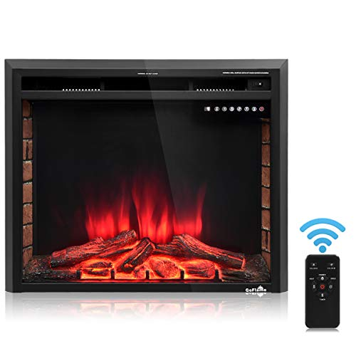 Cheap Golflame Electric Fireplace 30 Recessed Smokeless Electric Infrared Fireplace Heater Free with Adjustable Time Setting and Remote Control Stand Free Touch Screen Stove Heater (30