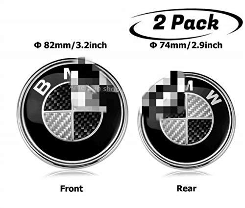 Emblems Hood and Trunk Black Carbon Fiber pattern for Emblem Logo Replacement Front 82mm Rear 74mm for E30 E36 E46 E34 E39 E60 E65 E38 (74mm + 82mm) (Black Carbon Fiber Bmw Emblem)