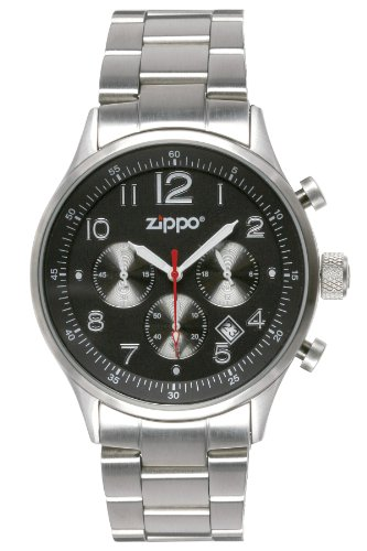 Zippo Sports Watch with Chronograph/Black Dial and Solid Stainless Steel Band, ()