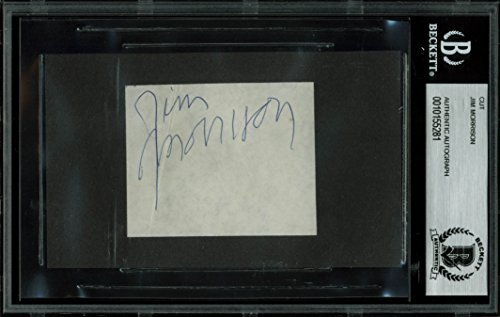 The Doors Jim Morrison Authentic Signed 2.25×2.75 Cut Signature BAS Slabbed